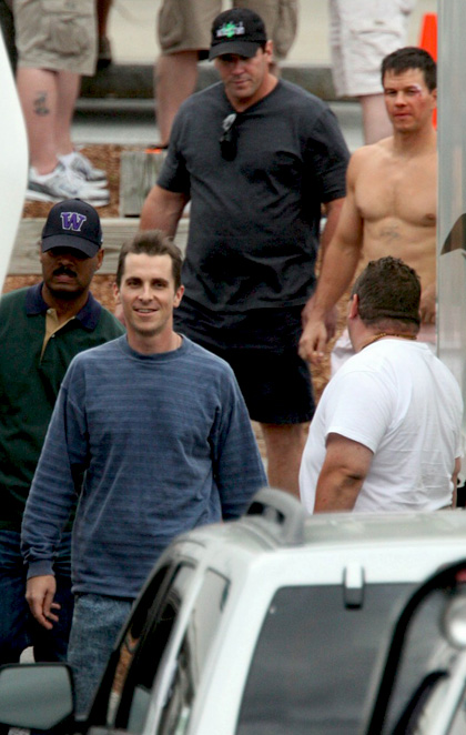Christian Bale e Mark Wahlberg sul set