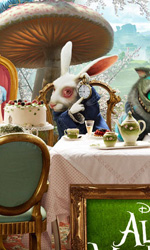 Alice in Wonderland: ecco le immagini delle creature del film - Alice, il Bianconiglio, lo Stregatto e la Regina Bianca