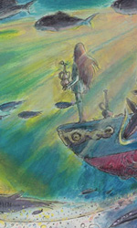 Ponyo sulla scogliera: gli artwork - Un'immagine sul fondo del mare