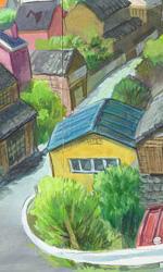 Ponyo sulla scogliera: gli artwork - Una veduta della cittadina