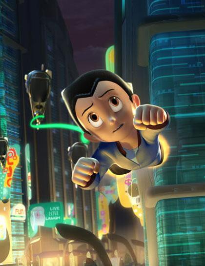 Astro Boy mentre vola per la città -