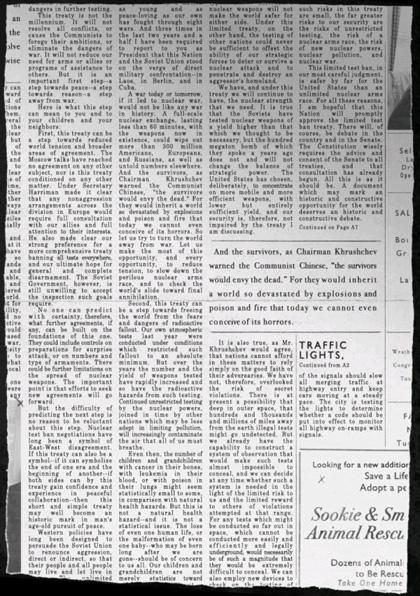 La pagina con il discorso di Kennedy -
