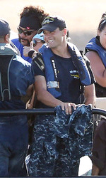 Battleship: prime foto di Rihanna e Taylor Kitsch - Il cast sul set