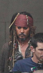 Pirates of the Caribbean: On Stranger Tides, Depp sul set di Greenwich - Keith Richards interpreta il capitano Teague.