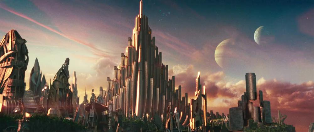 Asgard ha un aspetto fantascientifico, lo dimostrano le due lune che si stagliano nel cielo e l'architettura. -