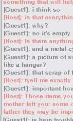 Le campagne virali parallele di Super 8 - La prima chat tra Josh e Mysterio: i due parlano del padre di Josh. (n.b. si legge dal basso all'alto.)