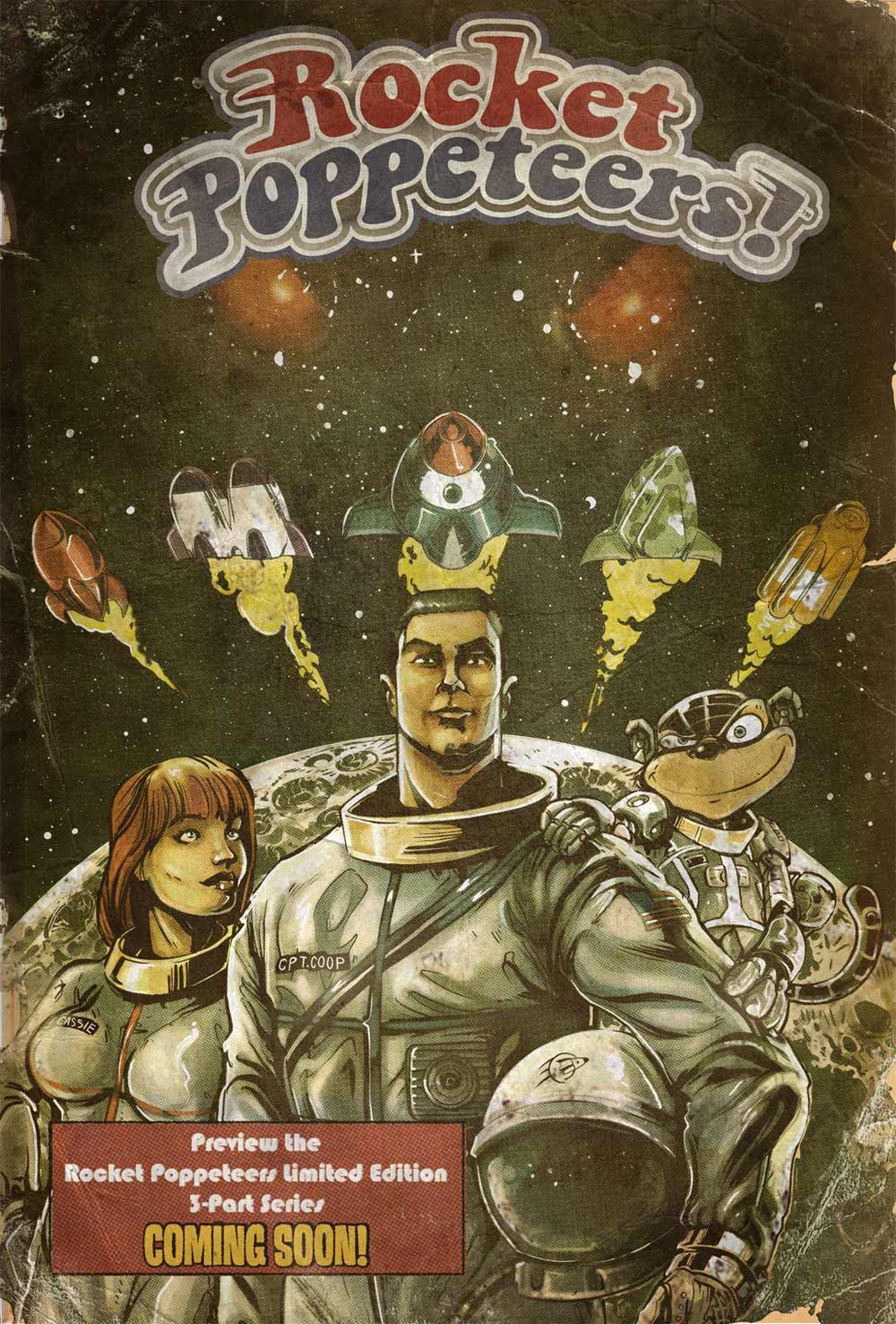La cver del fumetto dei Rocket Poppeteers. Al centro il  protagonista Coop, al suo fianco i suoi due aiutanti: a destra la scimmia e a sinistra Cassie. -