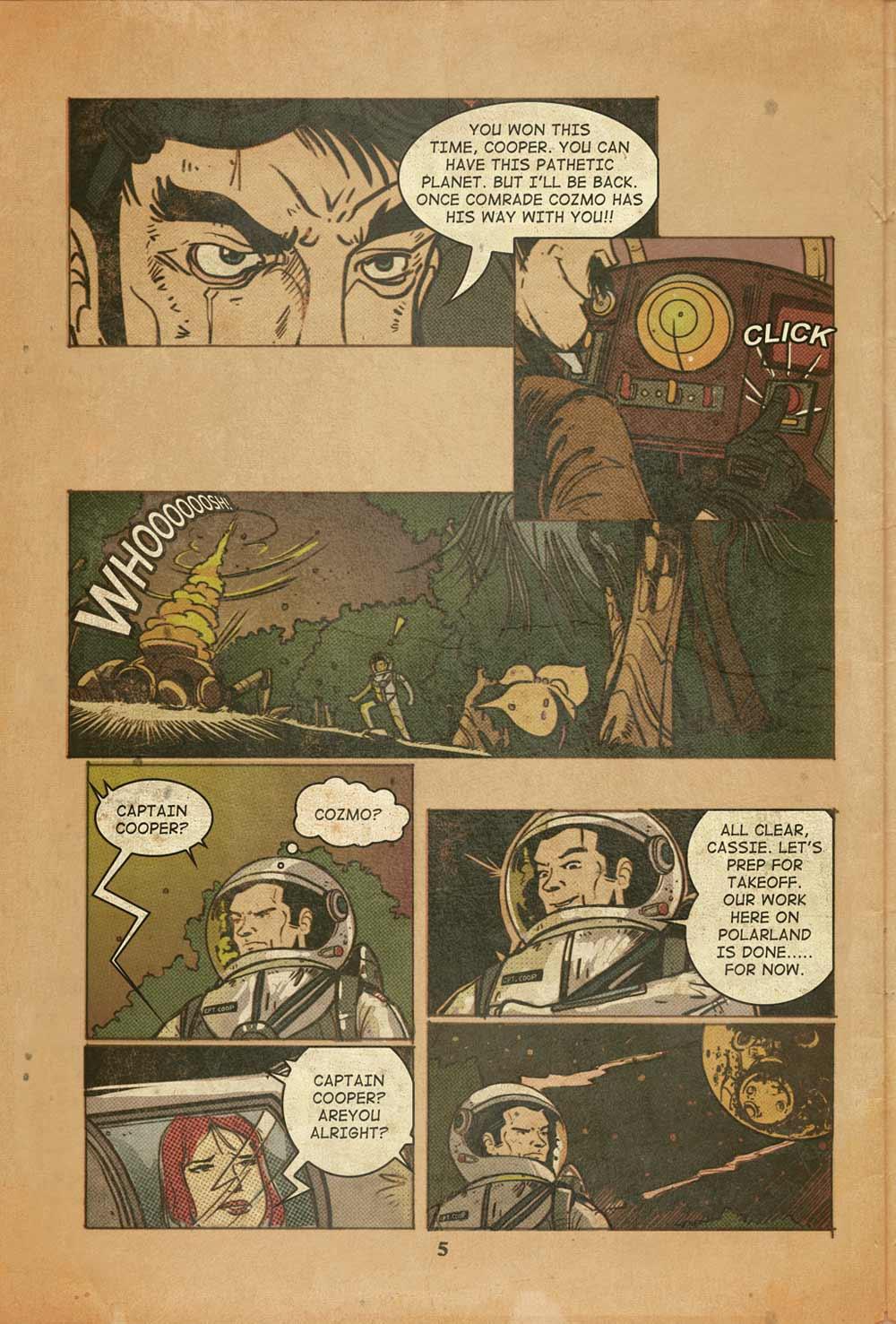 La quinta pagina del fumetto dei Rocket Poppeteers. -
