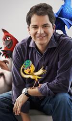 Rio, l'Avatar dei bambini - Il regista brasiliano Carlos Saldanha in compagnia dei personaggi del film Rio.