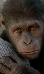 Andy Serkis, l'uomo scimmia - Cesare abbraccia Charles (John Lithgow) in una scena del film L'alba del pianeta delle scimmie.