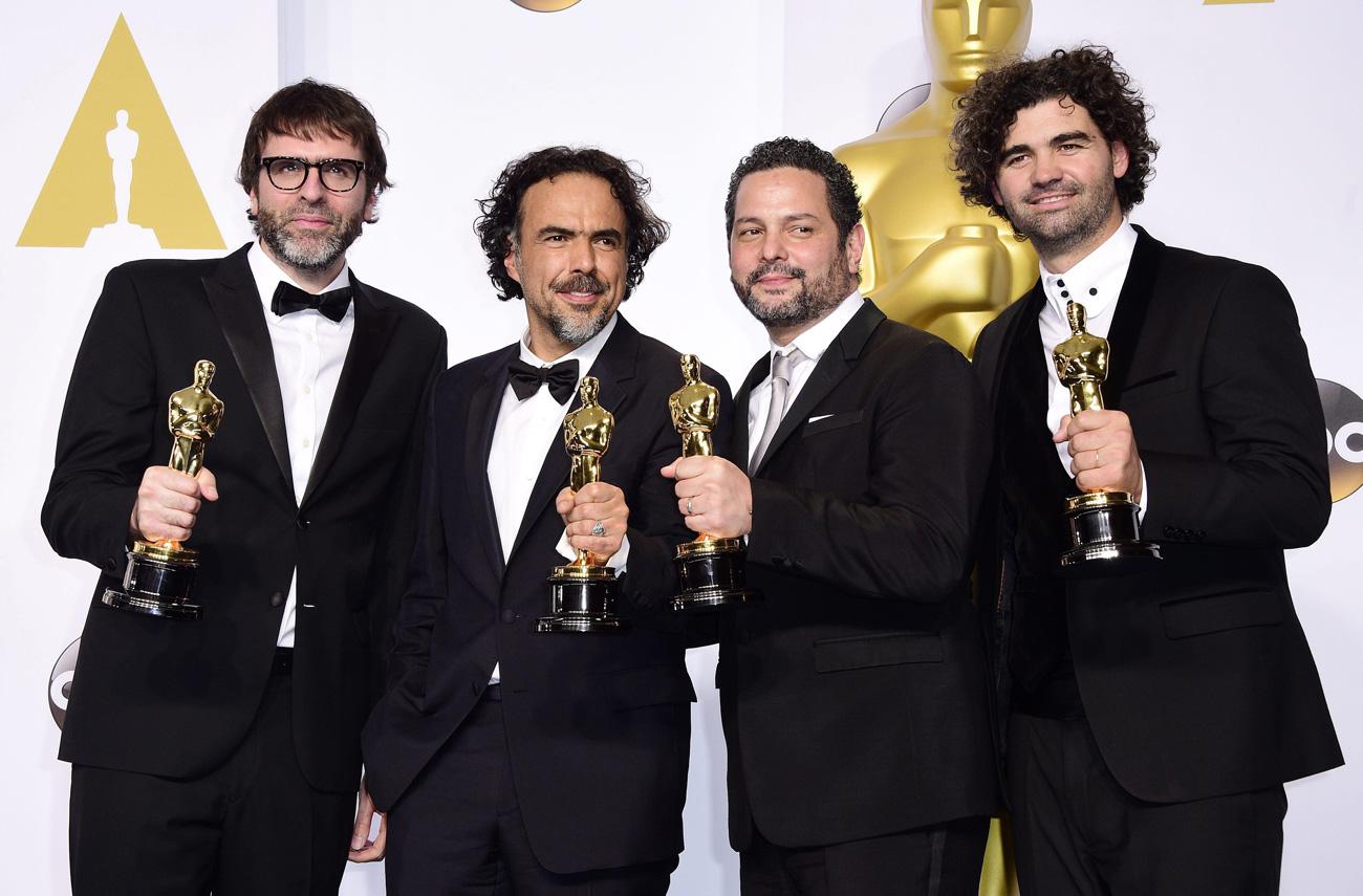 I vincitori dell'Oscar per il Miglior Film, <em>Birdman</em>.