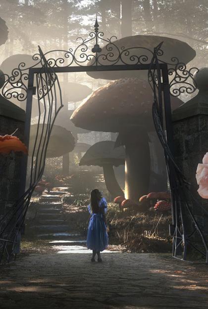 Alice davanti al cancello -  Dall'articolo: Alice in Wonderland: il logo del film.