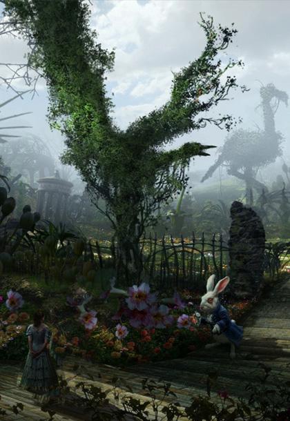 Alice con il bianconiglio -  Dall'articolo: Alice in Wonderland: il logo del film.