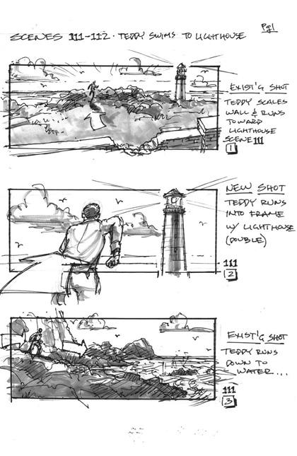 La prima pagina, Teddy che nuota fino al faro -  Dall'articolo: Shutter Island: immagini dello storyboards.