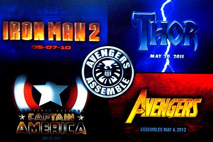 I loghi dei film che saranno presenti in The Avengers -  Dall'articolo: La Marvel progetta di realizzare quattro film all'anno.