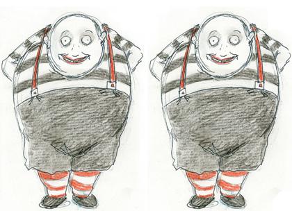 Il concept art disegnato da Burton -  Dall'articolo: Alice in Wonderland: il poster dello Stregatto e del Bianconiglio.