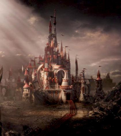 """Il castello della Regina di Cuori -  Dall'articolo: Alice in Wonderland: la clip """"vestite questa ragazza"""" e nuove immagini."""