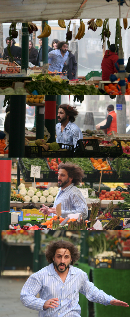 Lo stuntman nella scena dell'inseguimento tra i banchi del mercato -  Dall'articolo: The Tourist: le riprese di Depp inseguito in Campo della Pescheria.