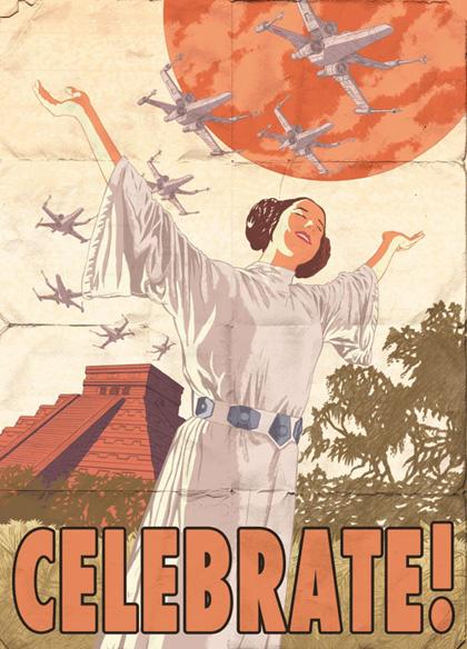Il poster dell'Alleanza Ribelle con Leila -  Dall'articolo: Star Wars: i poster in stile propaganda della seconda guerra mondiale.