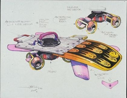 Un concept art dell'Hoverboard -  Dall'articolo: Ritorno al futuro parte II: concept art della Delorean e dell'Hoverboard.