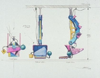 Un concept art dei video camerieri -  Dall'articolo: Ritorno al futuro parte II: concept art della Delorean e dell'Hoverboard.