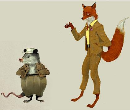 Kylie e Mr Fox -  Dall'articolo: Fantastic Mr. Fox: i concept art di Chris Appelhans.