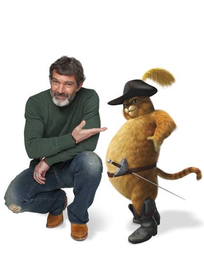In foto Antonio Banderas (60 anni) Dall'articolo: Shrek e vissero felici e contenti: la clip 'Gatto cosa ti è successo?'.