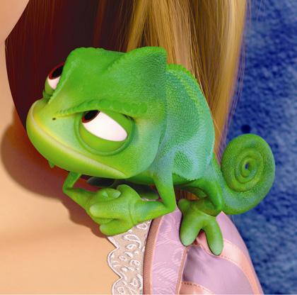 Il camaleonte di Rapunzel -  Dall'articolo: Rapunzel - L'intreccio della torre: un film d'animazione indirizzato ai maschietti.