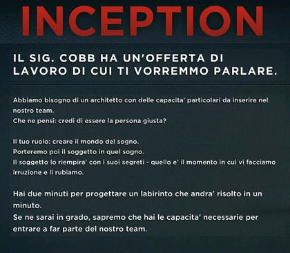 Un test per gli spettatori -  Dall'articolo: Inception: il sig. Cobb ha un'offerta di lavoro che vorrebbe discutere con te.