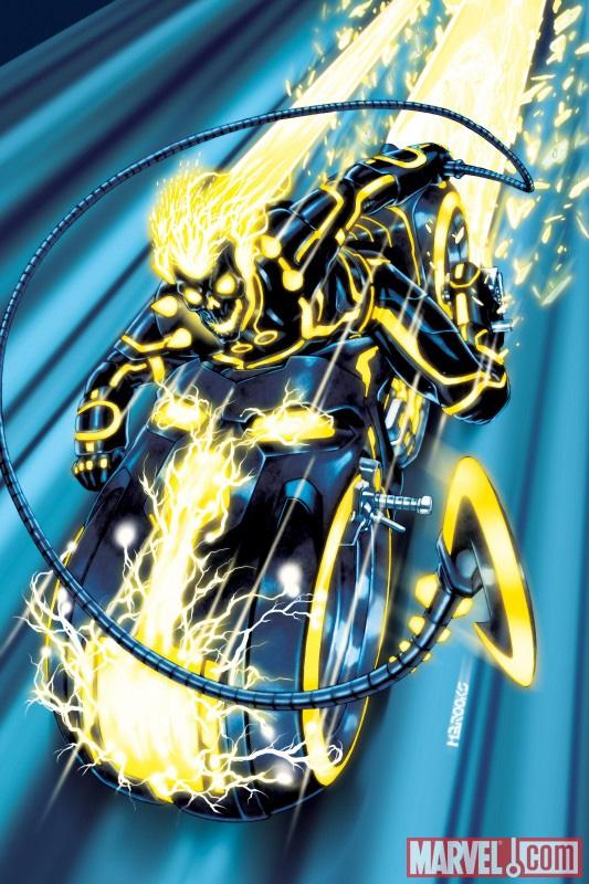 Ghost Rider in L'incredibile Hulk #618 -  Dall'articolo: L'Universo Marvel contagiato da Tron: Legacy.