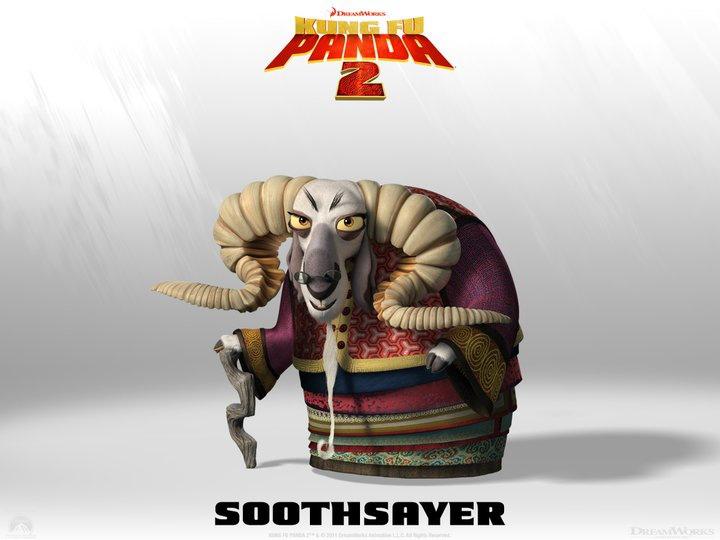 Po, Tigre, Gru, Scimmia, Mantide e Vipera potranno contare sulla vecchia Soothsayer, la consigliera dei Pavoni, saggia e in grado di prevedere il futuro. -  Dall'articolo: Kung Fu Panda 2, rivelati 4 nuovi personaggi.