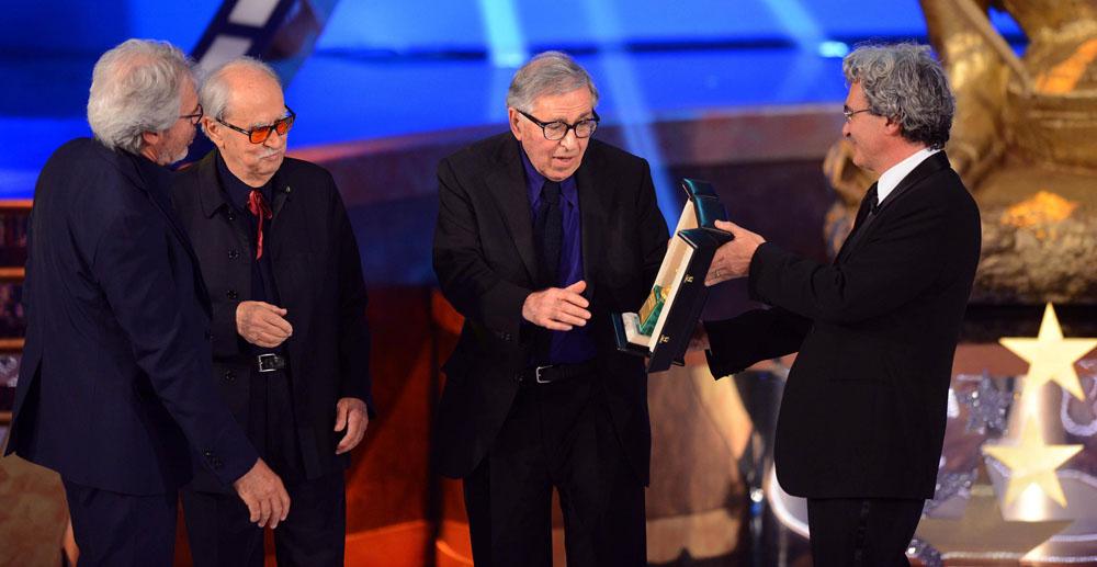In foto Paolo Taviani (87 anni) Dall'articolo: David di Donatello 2012, trionfano i fratelli Taviani.