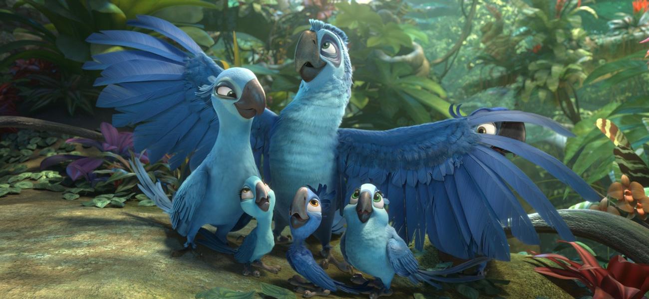 In foto una scena del film d'animazione Rio 2 - Missione Amazzonia di Carlos Saldanha. -  Dall'articolo: Raccontare tutto il Brasile attraverso gli uccelli blu.