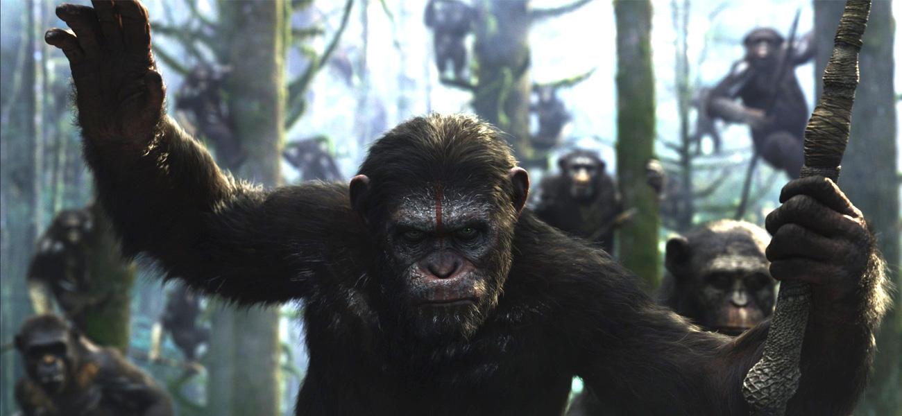 In foto una scena del film Apes Revolution - Il Pianeta delle Scimmie di Matt Reeves. -  Dall'articolo: Di guerra e di pace.