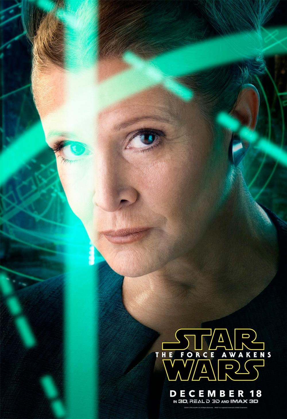 In foto Carrie Fisher Dall'articolo: Star Wars: Il risveglio della forza, i character poster.