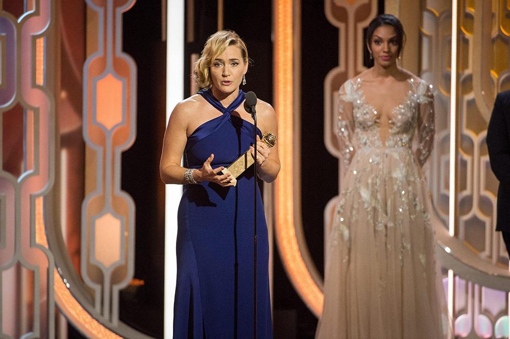 In foto Kate Winslet (46 anni) Dall'articolo: Ennio Morricone vince il Golden Globe. Tarantino: