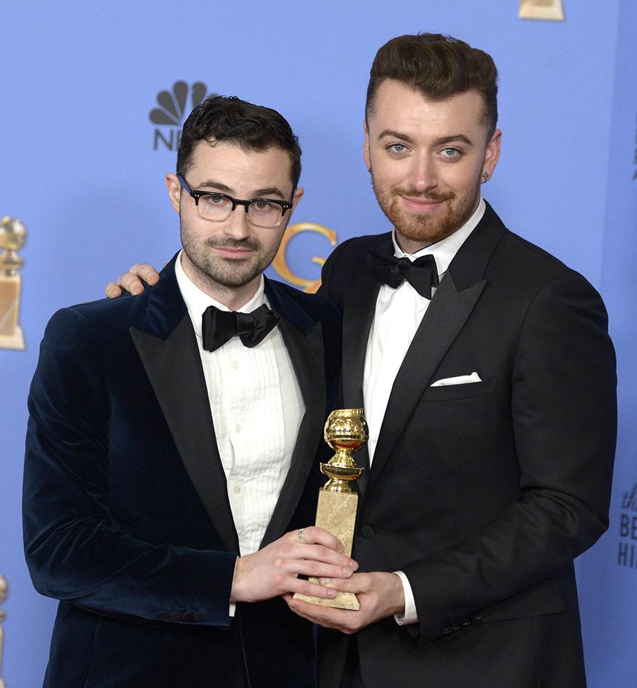 In foto Sam Smith Dall'articolo: Ennio Morricone vince il Golden Globe. Tarantino: