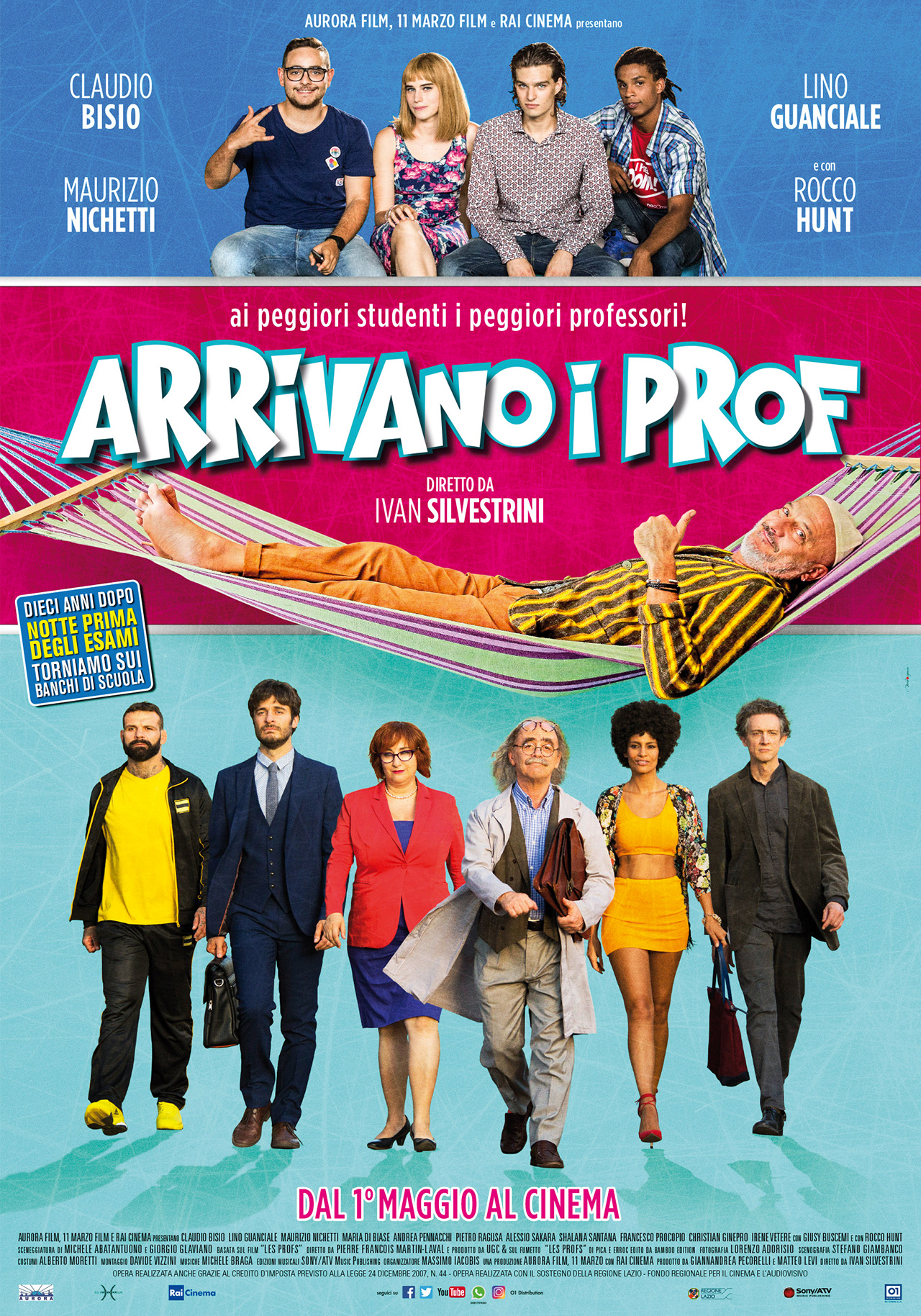 In foto Maurizio Nichetti (73 anni) Dall'articolo: Arrivano i Prof, il poster del film con Claudio Bisio.