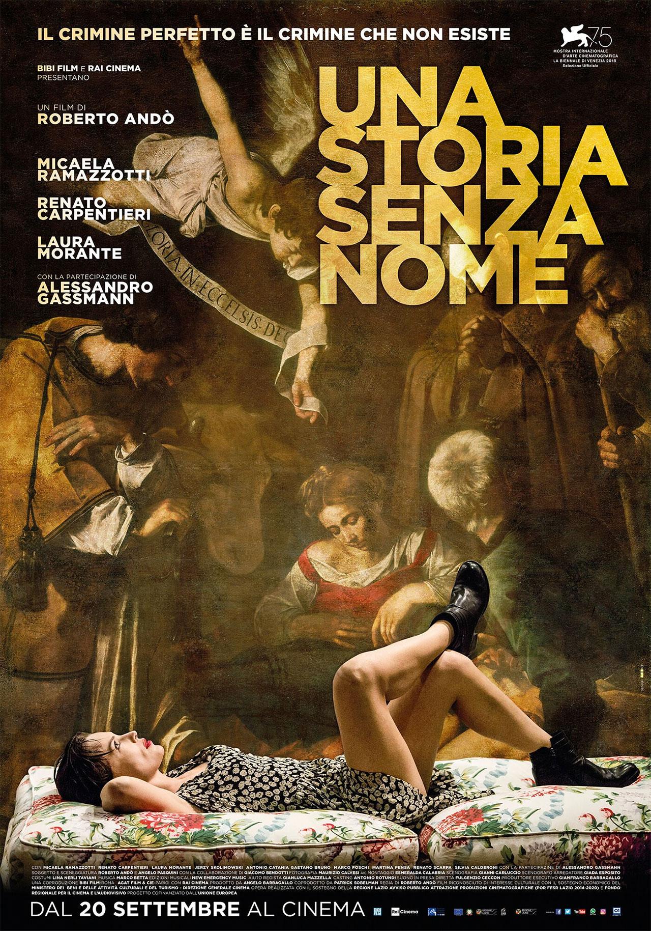 In foto Micaela Ramazzotti (40 anni) Dall'articolo: Una storia senza nome, il poster del film in programma a Venezia.