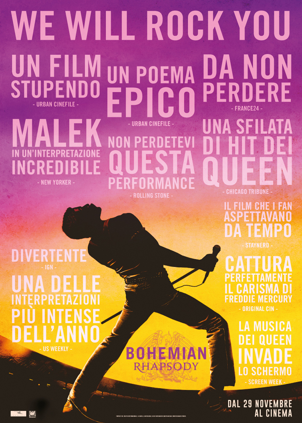 -  Dall'articolo: Bohemian Rhapsody, il poster italiano del film.