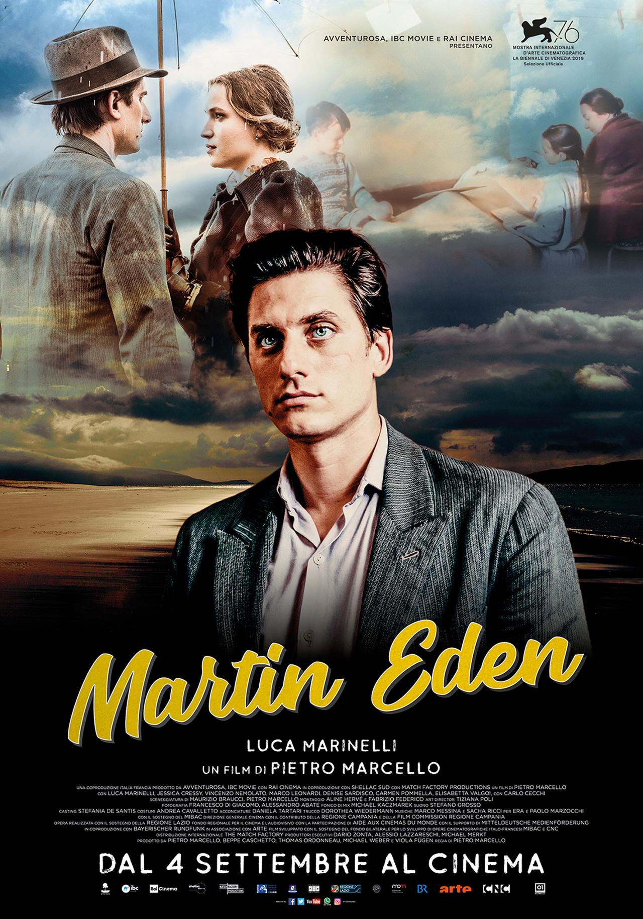In foto Luca Marinelli (35 anni) Dall'articolo: Martin Eden, il poster ufficiale del film con Luca Marinelli.