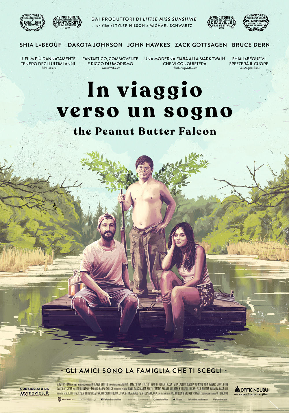 In foto Shia LaBeouf (34 anni) Dall'articolo: In viaggio verso un sogno - The Peanut Butter Falcon, il poster italiano del film.