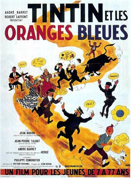 Locandina italiana Tintin et les Oranges Bleues