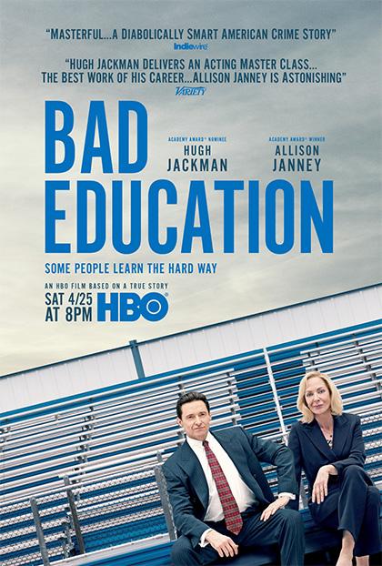 Locandina azzurra di Bad Education film candidato come miglior film tv agli Emmy 2020